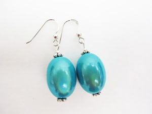 Large Olive Earrings in Turqoise