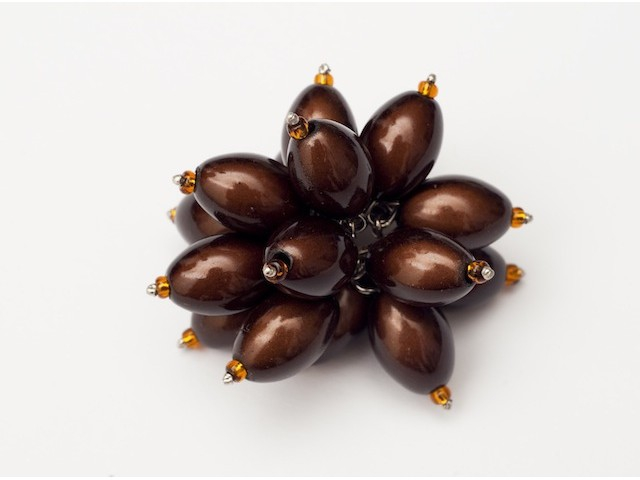 Flower Power Cocktail Ring in Dark Brown