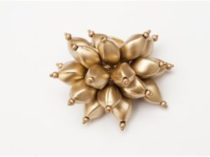Flower Power Cocktail Ring in Gold Matte