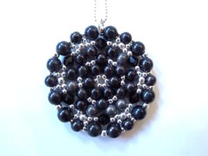 Mandala Necklace in Shades of Black