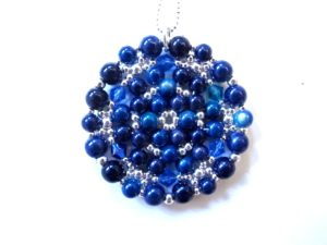 Mandala Necklace in Shades of Dark Blue