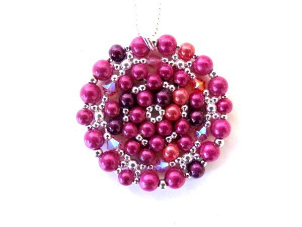 Mandala Necklace in Shades of Fuchsia