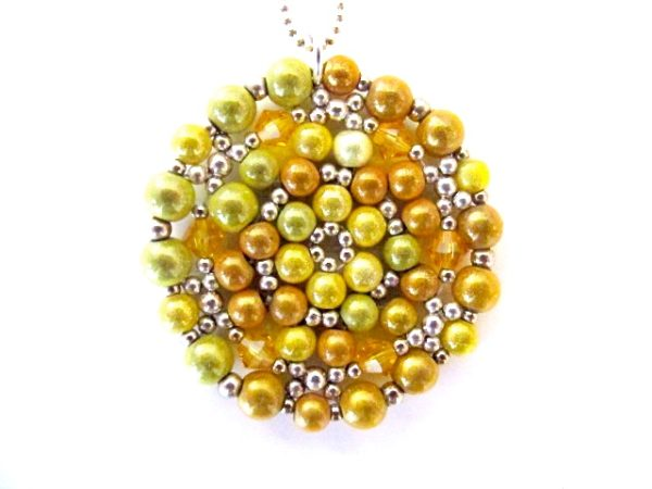 Mandala Necklace in shades of Golden Yellow