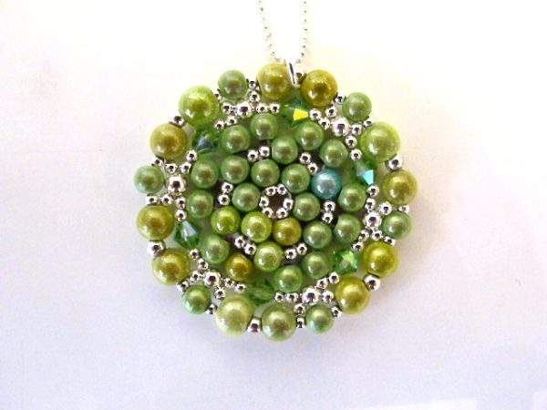 Mandala Necklace in Shades of Lime