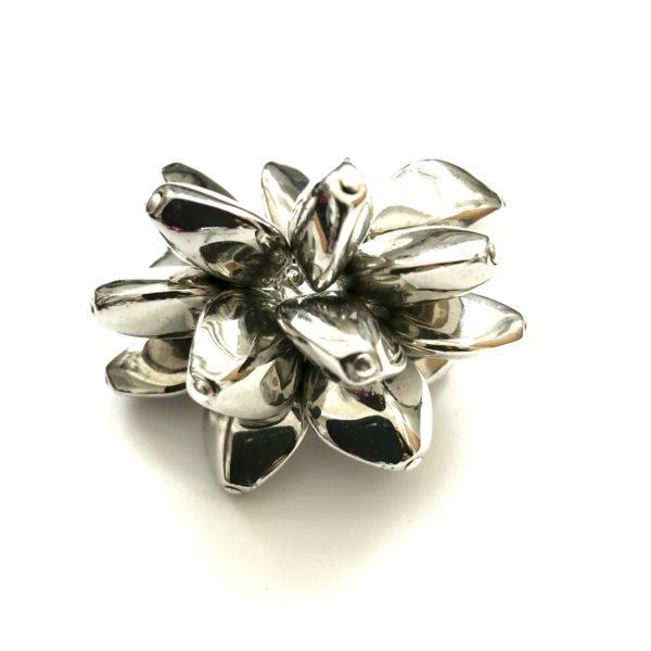 Metallic Wave Ring in Silver